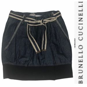 NEW Bruno Cucinelli Pleated Chambray Mini Skirt 2